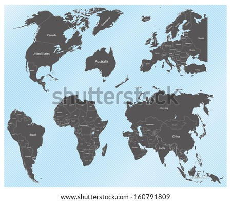 continents - stock vector