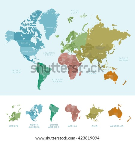 Continents And Countries On The World Map Marked. Colored Highly Detailed  World Map. Vector