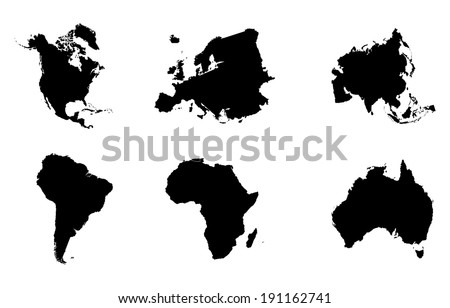 Continents maps vector isolated on white background. High detailed silhouette illustration.