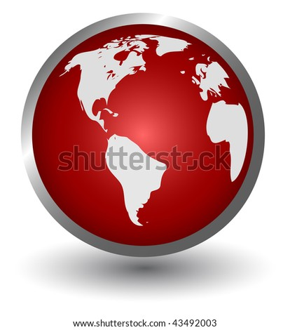 continents on a red sphere, button, vector - stock vector