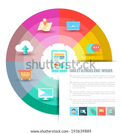 Continual circle arrow multicolor with icons / can use for diagram, graph, infographic, business plan, education ,advertising your technology products - stock vector