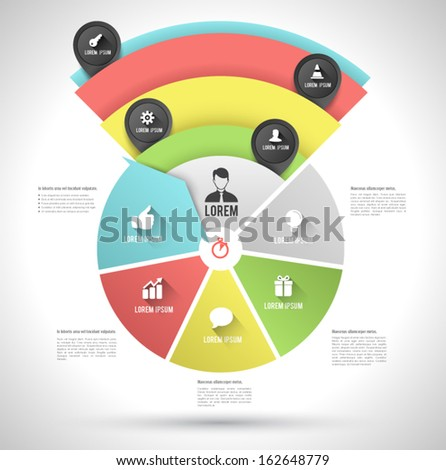 Continual circle arrow multicolor with icons long shadows / can use for diagram, graph, infographic, business plan, education ,advertising your technology products , - stock vector