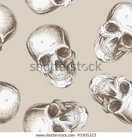Continuous background with and painting of human skulls - stock vector