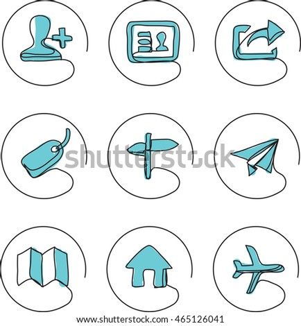 continuous line drawing icons - contacts locations
