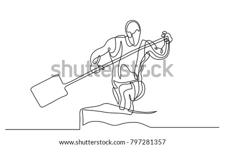 Continuous Line Drawing Illustration Shows A Athlete Rowing Paddle Canoe Sport Canoeing