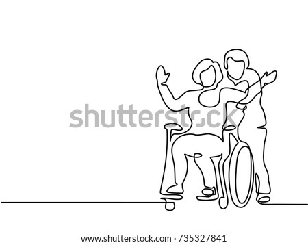 Continuous line drawing. Man push woman on wheelchair. Vector illustration total editable, choose thickness and place of line