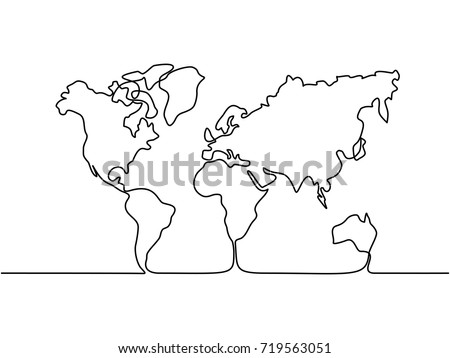 Continuous line drawing. Map of the Earth. Vector illustration