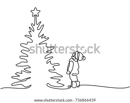 Continuous line drawing. New year card boy looking at Christmas tree with star on top. Vector illustration total editable, choose thickness and place of line