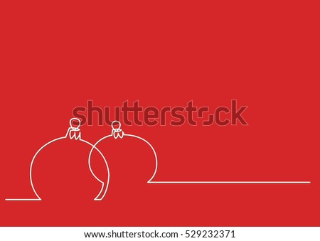 Line Drawing Xmas : Continuous line drawing christmas decoration stock vector