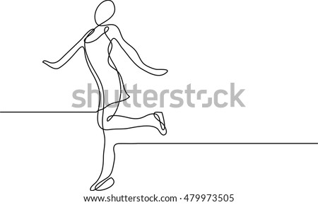 continuous line drawing of figure skating girl
