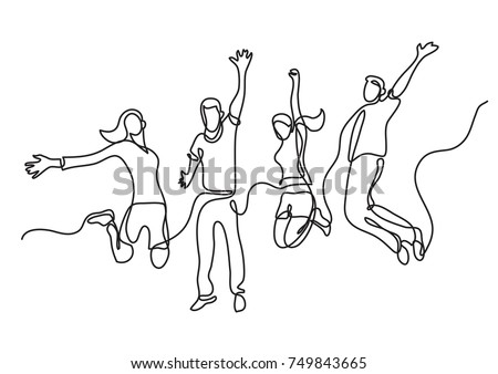 continuous line drawing of four jumping happy team members