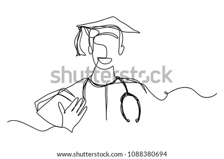 continuous line drawing graduation students doctor stock vector