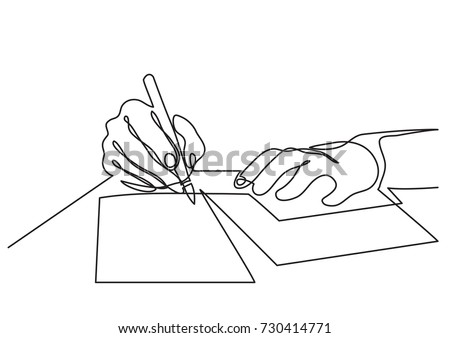 Continuous Line Drawing Of Hands Writing Letter