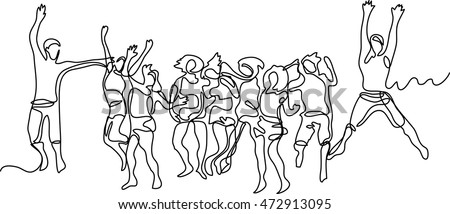 continuous line drawing of happy jumping guys