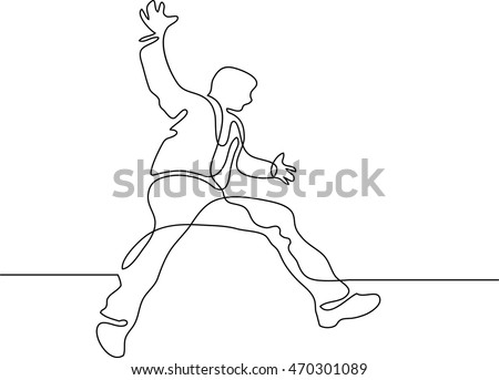 continuous line drawing of jumping man