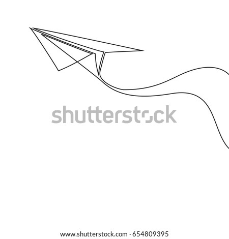 Continuous line drawing of paper airplane. Vector business icon message illustration