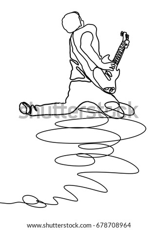 Continuous Line Drawing Of Rock Guitarist Playing On Electric Guitar Vector Illustration