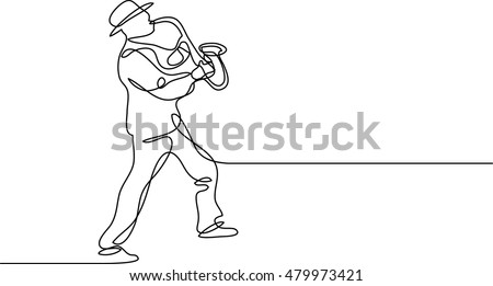 continuous line drawing of saxophone player