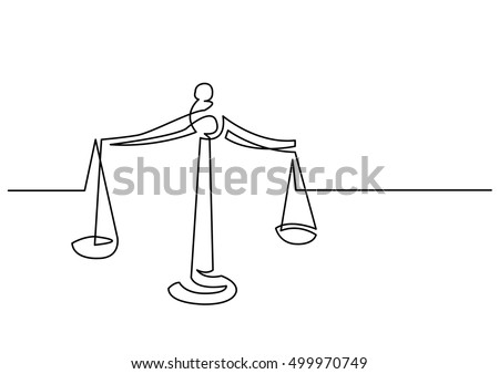 continuous line drawing of weight of justice