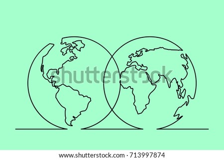 Continuous line drawing world map hemispheres stock photo photo continuous line drawing of world map in hemispheres vector illustration gumiabroncs Image collections