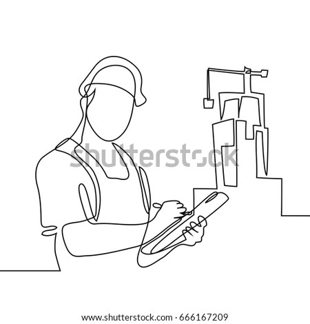 Continuous line drawing. Standing builder man holding tablet. Vector illustration on white background