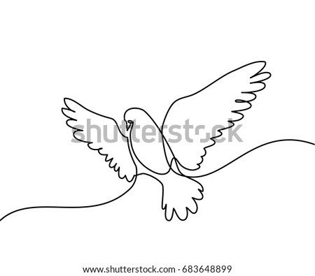 Continuous one line drawing. Flying pigeon logo. Black and white vector illustration. Concept for logo, card, banner, poster, flyer