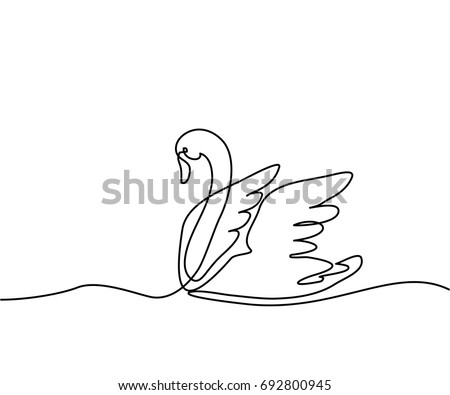 continuous one line drawing swan logo black and white vector illustration concept for