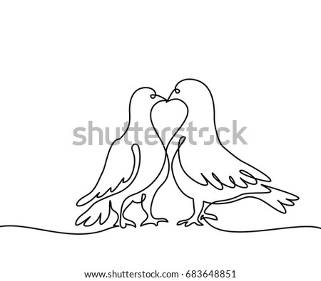 continuous one line drawing two doves logo black and white vector illustration concept