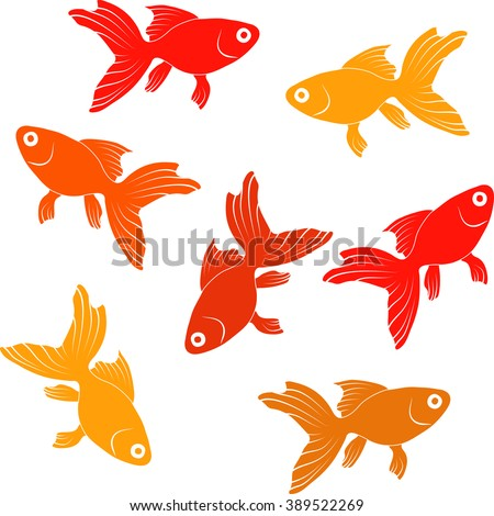 Continuous   pattern  with goldfishes - vector illustration  - stock vector