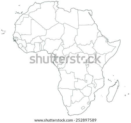 Contour border map of the Africa. All objects are independent and fully editable  - stock vector