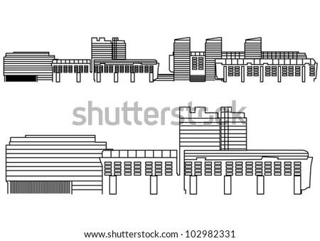 Contour Building - Vector Contour Acchitecture Series - stock vector