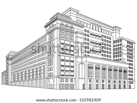 Contour Building - Vector Contour Architecture Series - stock vector
