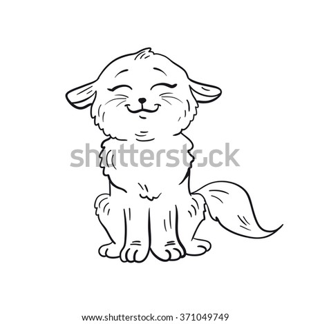 Contour cat for book for children or coloring. - stock vector