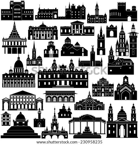 Contour collection of buildings and structures. The illustration on white background. - stock vector