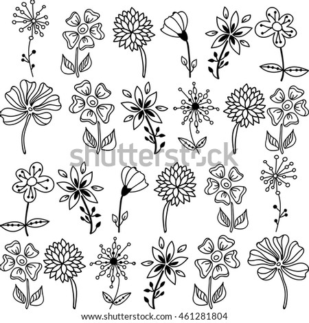 Contour colors flowers different types flowers stock vector 2018 contour colors flowers different types of flowers mightylinksfo
