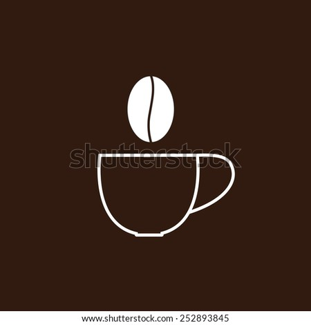 Contour cup of coffee and steam in the shape of grain. Logo template - stock vector