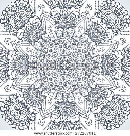 Contour decorative openwork pattern round. Vector illustration. Illustration for greeting cards, invitations, and other printing projects. - stock vector