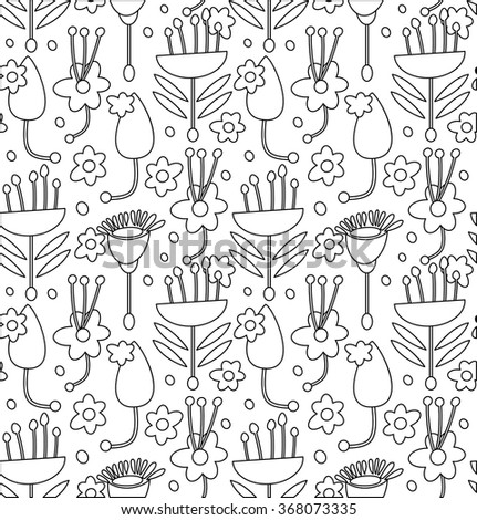 Contour decorative seamless pattern with leaves and flowers for coloring book - stock vector