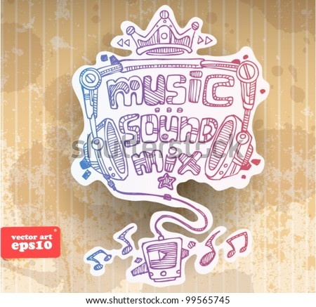contour drawing. musical style - stock vector