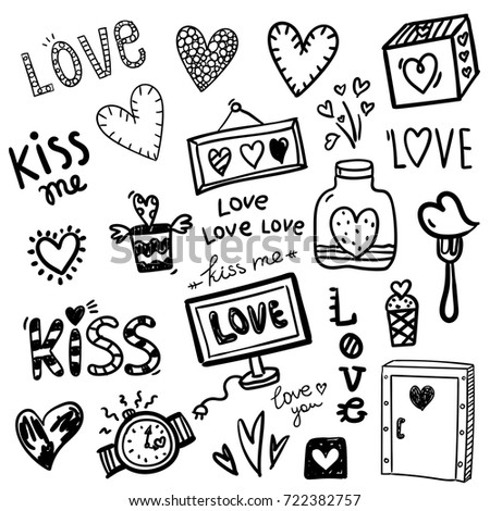 Contour drawing love sticker on theme stock vector 722382757 shutterstock