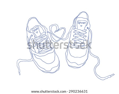 contour fashion sneakers. vector illustration - stock vector