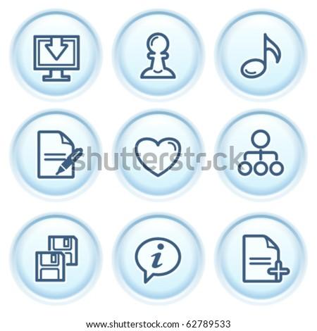 Contour icon on blue button 10 - stock vector