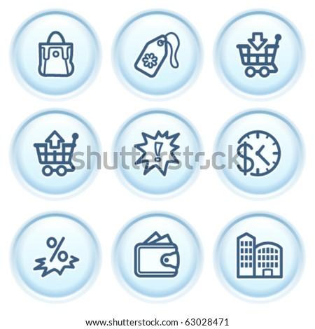 Contour icon on blue button 26 - stock vector