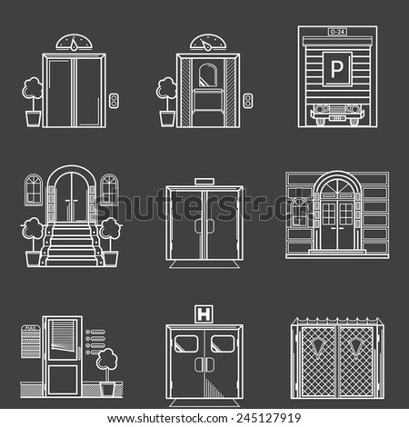 Contour icons vector collection of different types doors. White line vector icons set for different doors for buildings on black background. - stock vector