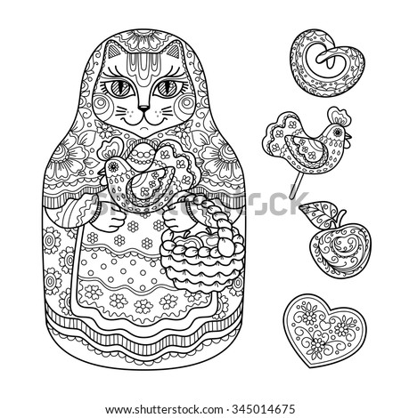 contour illustration, coloring book, a fair, a cat with a basket, traditional doll Matryoshka , candy, apple,  white bread, cookies,  outline drawing, doodle,  black and white illustration       - stock vector