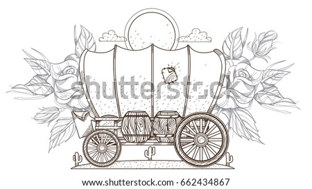 Contour Image Covered Wagon Roses Outline Stock Vector