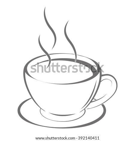 Contour image of the cup with hot tea. Delicious coffee. vector illustration - stock vector