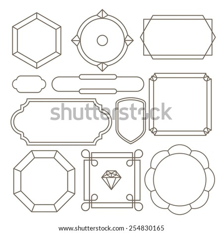 Contour label minimalist. Includes 11 elements. - stock vector