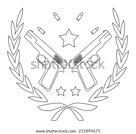 Contour, line art logo isolated on white with 2 pistols, bullets and stars in laurel wreath - stock vector