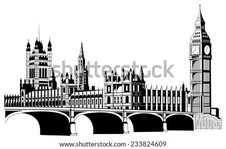 Contour London city in  vector - stock vector